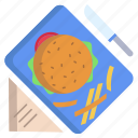 burger, and, fries, napkin, knife