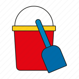 beach toys, bucket, equipment, sandbucket, shovel, toys icon