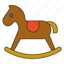 childhood, children, kids, rocking horse, toddler, toys icon