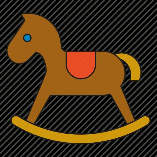 childhood, children, kids, rocking horse, toddler, toys icon