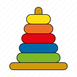 game of skill, rings, stack, stacking, toys, wooden icon