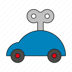 auto, car, toys, vehicle, windup car, windup toy icon