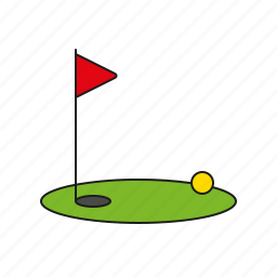 equipment, games, golf, green, hole, olympics, sports icon