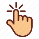 click, finger, hand, one finger touch, screen click, screen touch icon