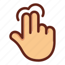 fingers, hand, hold, screen hold, screen touch, two fingers hold, two fingers touch icon