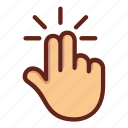 click, fingers, hand, screen click, screen touch, two fingers touch icon