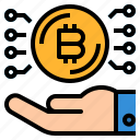 bitcoin, cryptocurrency, currency, money, rate icon
