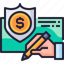 business, check, investment, insurance, document, license icon