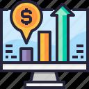 profits, chart, monitor, bar, analytics, graph, computer icon