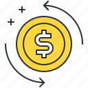 chargeback, coin, dollar icon