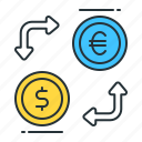 currency exchange, dollar to euro, eur to usd, euro to dollar, exchange, money exchange, usd to eur icon