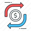 funds transfer, money exchange icon
