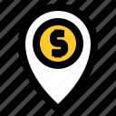bank, coin, dollar, fintech, location, money, office icon