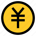 coin, currency, fintech, money, yen icon