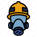 emergency, fire, firefighter, fireman, gas, mask, protection icon