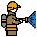 burn, fire, firefighter, firefighting, rescue icon