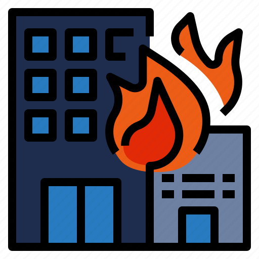 building, burn, burning, damage, emergency, fire icon