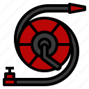 fire, firehose, hose, hydrant, pipe, reel icon