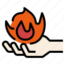 burning, combustion, fire, hand, human, spontaneous icon