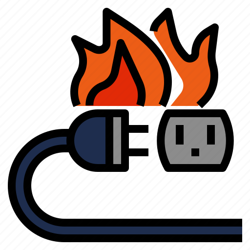 accident, burn, circuit, disaster, electricity, fire, flame, short icon