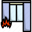 danger, fire, home, curtain, emergency, building, house
