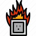 outlet, fire, power, electric, electrical, technology, socket
