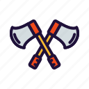 axes, cut, firefighters icon