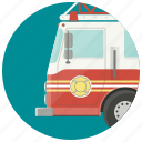 car, fire, fire fighters, fire truck, firefighters, firemen, transport icon