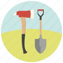 ax, equipment, fire, repair, shovel, tools, work icon