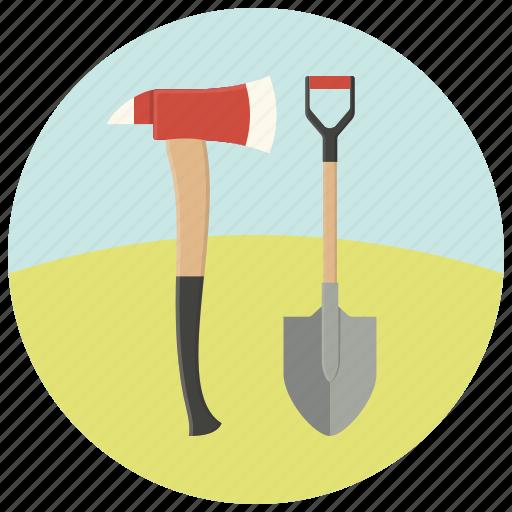 ax, equipment, fire, repair, shovel, tools, work icon