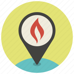 fire, gps, location, map, navigation, pin, pointer icon