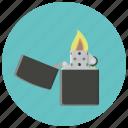 fire, flame, flint, lighter, smoke, smoking, zippo icon