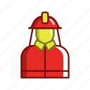 firefighters, worker, person icon