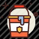 bucket, flames, hazard, smoke icon