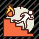 escape, fire, flames, hazard, smoke icon