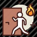 escape2, fire, flames, hazard, smoke icon