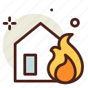 fire, flames, hazard, house, smoke icon
