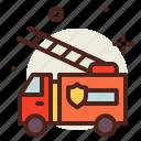 fire, flames, hazard, smoke, truck icon
