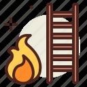 flames, hazard, ladder, smoke icon