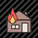 burning, damage, fire, flame, heat, house, smoke