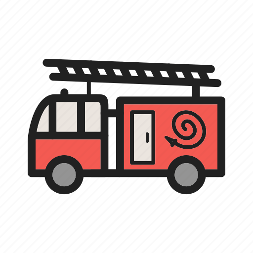 brigade, emergency, fire, fireman, hose, truck, water icon