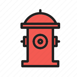 emergency, fire, firefighter, hydrant, red, safety, water icon