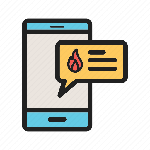 alert, fire, firefighter, message, mobile, ring, safety icon