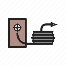 fire, firefighter, hose, pipe, safety, spray, water icon