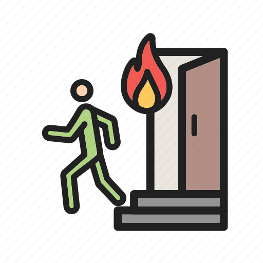 emergency, evacuation, exit, fire, outdoor, run, running icon