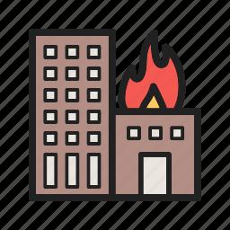 building, burning, damage, fire, flame, heat, smoke icon