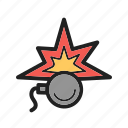 blast, bomb, danger, dynamite, fire, time, water icon