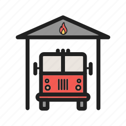 brigade, emergency, fire, fireman, hose, truck, water icon