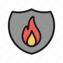 cover, fire, flame, protection, safety, shield, sign icon