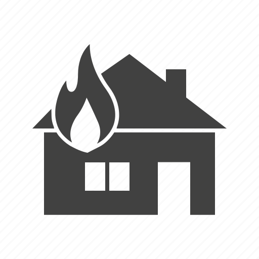 burning, damage, fire, flame, heat, house, smoke icon